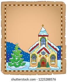 Christmas church building parchment 2 - eps10 vector illustration.