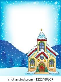 Christmas church building theme frame 1 - eps10 vector illustration.