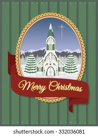 Christmas church greeting card. Nordic inspired church in winter with evergreens & mountains in the snow. Features Merry Christmas banner. Ready to use image perfect for a holiday greeting card.