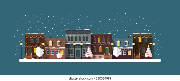 Christmas city silhouettes night with garlands decorations. Cityscape.Christmas winter city street with small houses and trees and lamp on background.