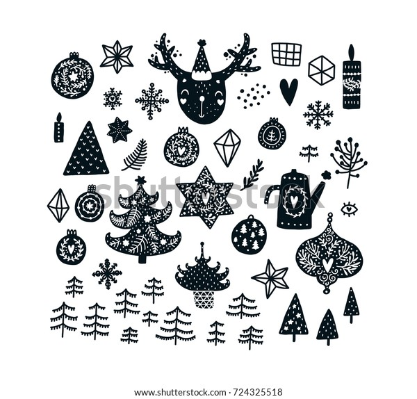 Christmas Images Clipart Black And White.Christmas Clipart Set Cute Animals Black Stock Vector