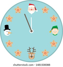 Christmas Clock Face with Santa, Cakes, Deers, Elf and Snowman