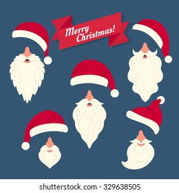 Christmas clothes collection of different Santas hats with nose and funny white beards. Christmas elements in flat style for the celebrating mask on the face