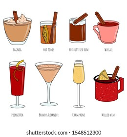 Christmas cocktails. Vector cartoon illustrations. Isolated objects on a white background. Hot and cold drinks. Flat design.