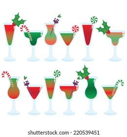Christmas Cocktails Vector Clip Art Set.