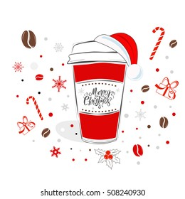 Christmas coffee cup with hand drawn lettering over holiday background vector illustration. Christmas creative greeting card design.