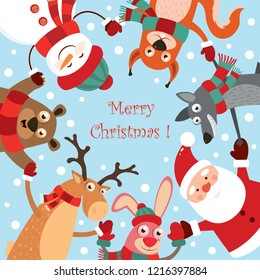 Christmas collection with cute animals in the dance: a hare, deer, bear, snowman, squirrel, wolf, Santa Claus. Greeting card. Vector illustration