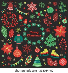 Christmas collection. Fir tree, poinsettia, sweater, snowflakes, mittens, balls, baubles, cookies, berries, bird, cone, fir branches, garland, flowers, confetti, wreaths, skates on dark background