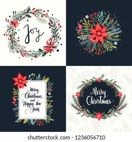 Christmas collection of four greeting cards with seasonal elements and hand lettering