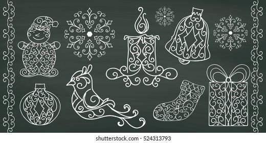 Christmas collection of hand drawing design elements on chalkboard background. Vector illustration