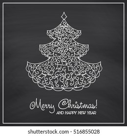 Christmas collection. Icons with mandala ornament on Chalkboard background. Vector illustration