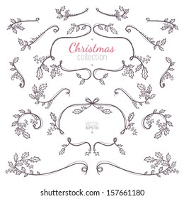 Christmas collection of nature elements with branches and leaves for your holiday decoration