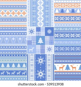 Christmas collection ornamental seamless patterns in scandinavian style