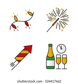 new year eve icons images stock photos vectors shutterstock https www shutterstock com image vector christmas color icons set new years 524417662