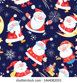 Christmas color pattern of funny Santa Clauses on a blue background with snowflakes and gifts. Sample New Year's design for wallpaper or packaging and fabric.