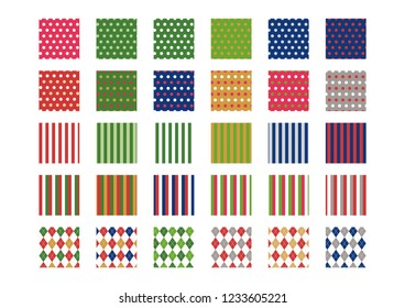 Christmas color pattern swatch set