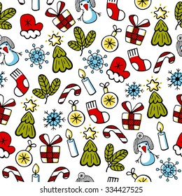 Christmas color sketch, vector seamless pattern. Christmas background.