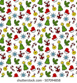 Christmas color vector seamless pattern. Snowman and christmas tree vector seamless pattern.