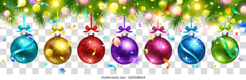 Christmas Colored Balls, Confetti and Light Effect, Isolated on Background. Vector illustration