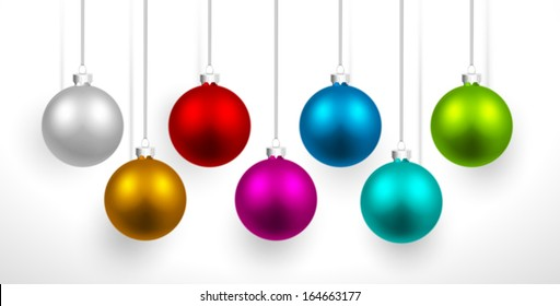 Christmas colored balls with shadow