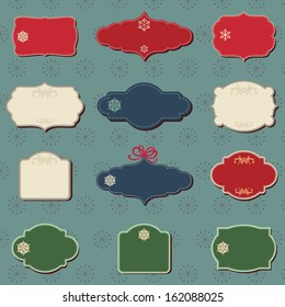 Christmas colored labels A set of Christmas vector labels waiting for your text and wishes.