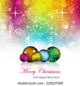 Christmas colorful background with christmas balls and decoration/vector illustration