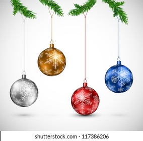 Christmas colorful balls hanging. Eps 10
