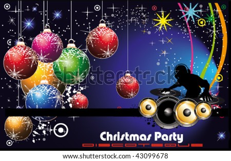 christmas colorful disco party flyer background stock vector