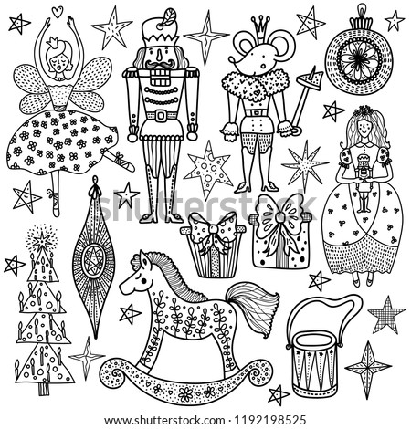 christmas coloring book the nutcracker magic vector illustration