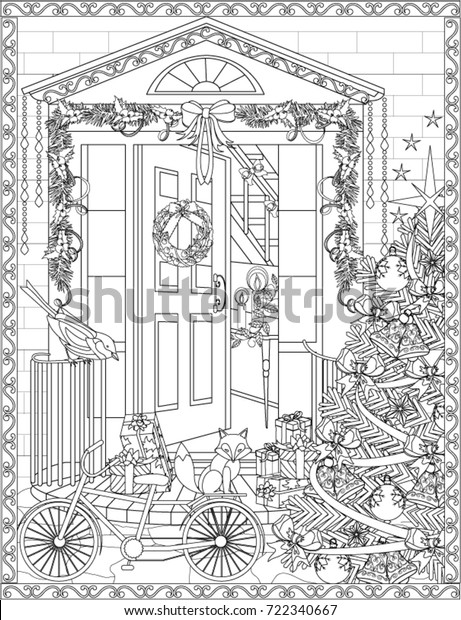 - Christmas Coloring Book Page Stock Vector (Royalty Free) 722340667