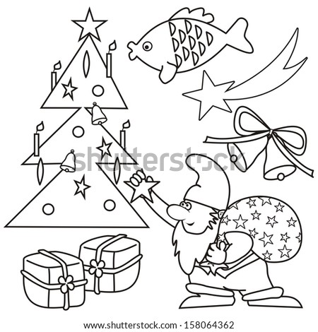 christmas coloring book vector icon
