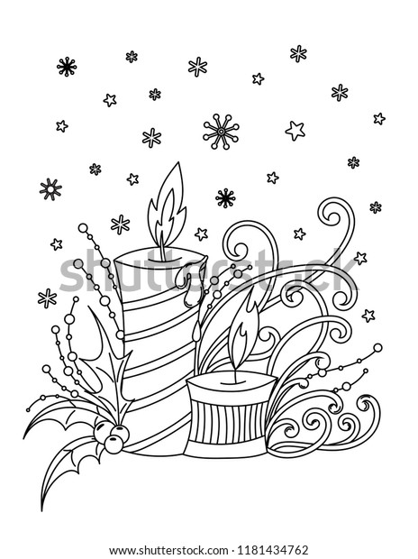 Christmas Coloring Page Adult Coloring Book Stock ...