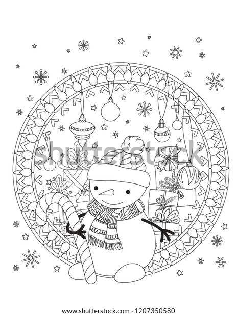 Christmas Coloring Images.Christmas Coloring Page Adult Coloring Book Stock Vector