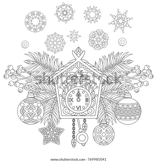 Create Your Own Cuckoo Clock Digital Print Coloring Page | Etsy | 620x600
