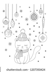 Christmas coloring page for kids and adults. Cute cat with scarf and knitted cap. Hand drawn vector illustration.