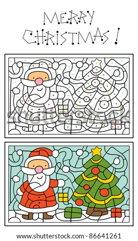 christmas coloring page for kids santa claus and christmas tree
