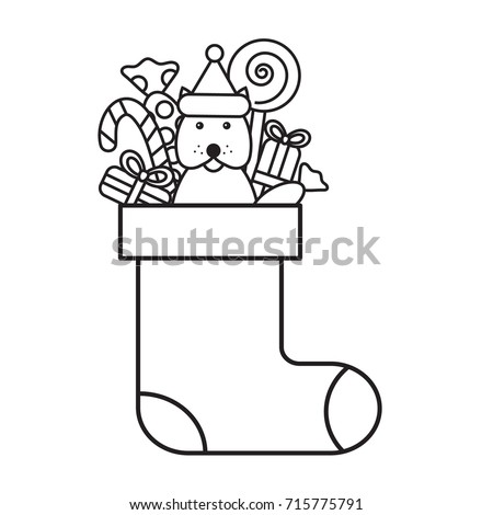 christmas coloring page for kids sock with gifts lollipops and candies dog of