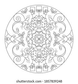 Page de coloriage de Noël. Mandala. Père Noël et petites colombes portant des cadeaux. Noir et blanc. Illustration vectorielle.