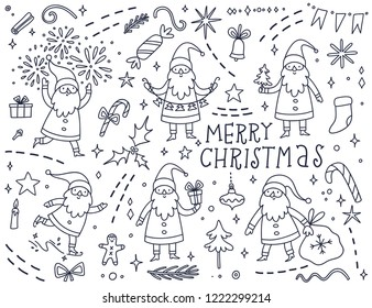 Christmas coloring page with Santa Claus. Hand drawn holiday sketch with cartoon characters and decorative elements. Vector outline drawing for kids.