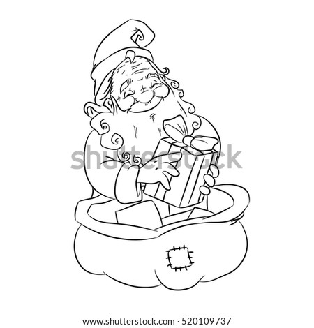 christmas coloring page with santa claus