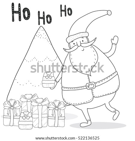 christmas coloring page with santa claus christmas tree gift boxes