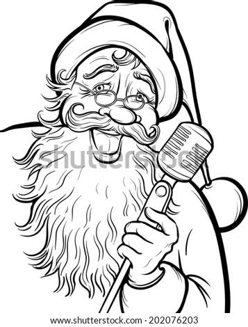 royalty free christmas coloring pages   Christmas Coloring Page Singing Santa Claus Stock Vector ...