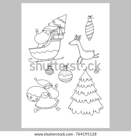 Christmas Coloring Page Christmas Wish List Stock Vector Royalty