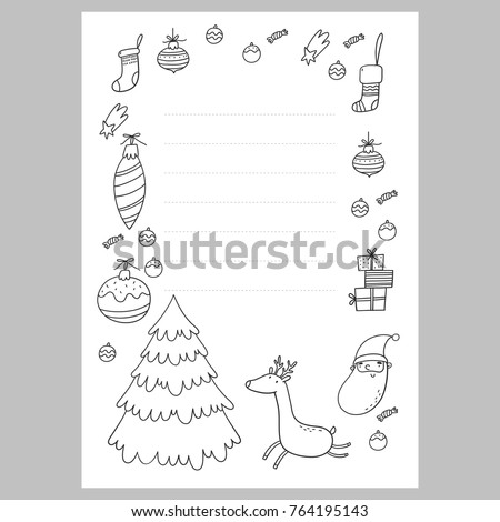 Christmas Coloring Page Wish List With Santa A Letter To Template