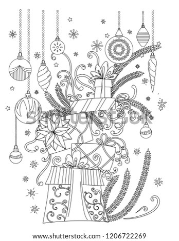 Christmas Coloring Pages Coloring Book Adults Stock Vector Royalty