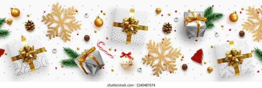 Christmas composition with decorative elements of design. Holiday illustration decoration the border of realistic objects. Xmas banner, greeting card. Festive horizontal template. Flat lay, Top view.
