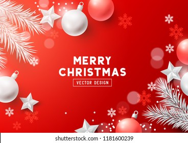 Christmas Composition with fir branches, christmas baubles and snowflakes on a redbackground. Top view vector illustration.
