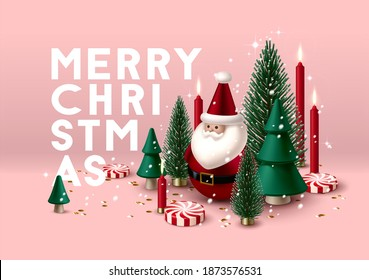 Christmas composition with green Christmas trees, candles, peppermint candies and toy Santa