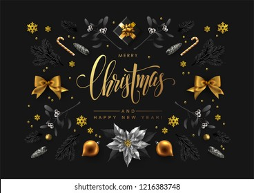 Christmas composition made of christmas tree branches, berries, fir cones, snowflakes and other traditional festive elements. Flat lay, top view,