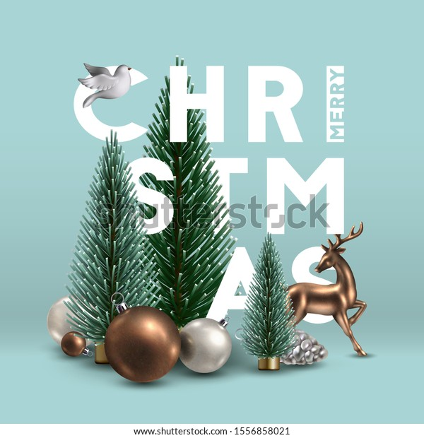 Christmas composition with traditional  decoration, Christmas trees, glass ornaments, gold deer and white dove. Christmas greeting card.